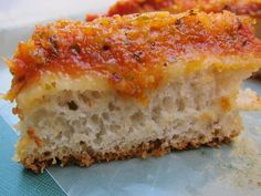 """Lo Sfincione"" - The Original Sicilian Pizza: Sfincione palermitano… Sfincione Recipe, Sicilian Style Pizza, Sicilian Food, New York Sicilian Pizza Recipe, Sicilian Recipes Authentic, Pizza Recipes, Cooking Recipes, Pain Pizza, Pizza Pizza"