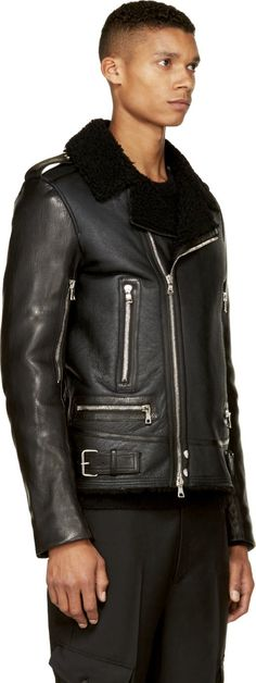 Balmain Black Leather & Shearling Biker Jacket