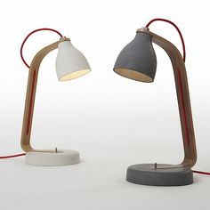 Heavy desk light~by Benjamin Hubert Thin walled cast concrete light with walnut/oak arm and aluminium details Concrete Light, Concrete Wood, Concrete Design, Concrete Table, Wood Table, Deco Luminaire, Luminaire Design, Wood Interior Design, Industrial Design