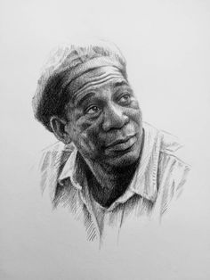 Graphite drawing of Morgan Freeman from Shawshank Redemption 1990s Films, Friends Sketch, Aurora Aksnes, Stephen King Books, The Shawshank Redemption, Epic Characters, Drama, Morgan Freeman, Graphite Drawings
