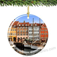 Copenhagen, Denmark Christmas Ornament made of Porcelain Relive your best memories of your travels to Denmark while displaying this colorful and iconic image of Copenhagen. With easy care, this keepsake will keep your memories alive for a lifetime. (http://www.nycwebstore.com/denmark-christmas-ornament-porcelain/)