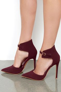 Oohs and Ahhs Burgundy Nubuck Ankle Strap Pumps