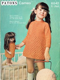 Items similar to PDF Vintage Doll Clothes Baby Girl Knitting Pattern Summer Groovy Baby Teen Doll Patons 6047 Yoke Baby Doll Party Bobble on Etsy Vintage Children Photos, Vintage Kids Clothes, Vintage Knitting, Vintage Crochet, Baby Knitting, Crochet Top, Pretty Girls Names, Little Girl Models, Kids Fashion