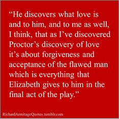 Richard Armitage talks about his role as John Proctor and his journey throughout the story