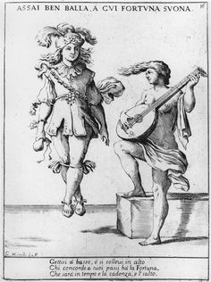 Rich Young Man Dancing to the Sound of a Theorbo Played by Fortuna