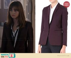 Clara's burgundy blazer on Doctor Who. Outfit Details: http://wornontv.net/36951/ #DoctorWho