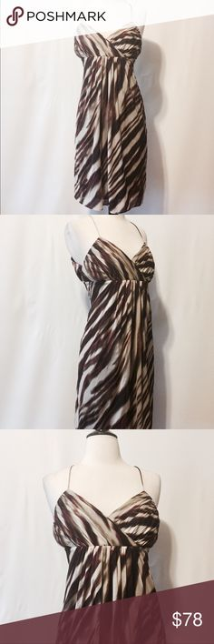 "💫 Ann Taylor Silk Stretch Stripe Dress Sz. 10P Slip on Awesomeness! Pleated bodice, elastic back, thin straps. Slip on style, fully lined. 66% Silk 33% Nylon 11% Spandex 93% Polyester lining 7% Spandex Dry Clean Only 36"" Bust 36"" Hips 44"" Sweep 60"" Sweep 37"" Overall length #NG0601016 Ann Taylor Dresses Midi"