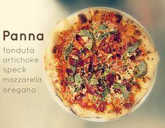 The Panna: Fonduta, Artichoke, Speck, Mozzarella and Oregano. Should we slip one in the oven for you? Brick Oven Pizza, Artichoke, Mozzarella, Vegetable Pizza, Artisan, Vegetables, Food, Artichokes, Essen