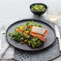 Crispy skin salmon with caramelised yams and broccolini caper salsa by Nadia Lim | NadiaLim.com