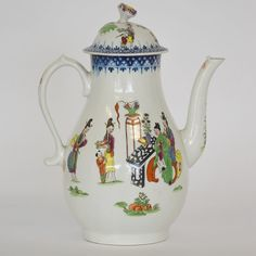 LOT 479: An 18th Century coffee pot the baluster shaped body decorated with an Oriental scene with blue and white border on pedestal base. Est. £300 - £400. Coming up in our #Silver #Jewellery #Toys and #Railwayana #Auction on Thursday 25th May. To include #Watches #Collectables #Pictures #China & #Antique #Furniture #May25 #whittonsauctions #Honiton #pin