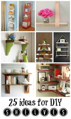 DIY:Shelving Ideas - lots of different options & tutorials, including crates, drawers, bins & repurposed furniture.Great post!