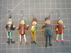 Antique Palmer Cox Brownies Set of Five German Composition Dolls Circa 1900 - Ornaments