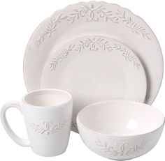 Design Guild Bianca Laurel 16 Piece Dinnerware Set Stoneware Home Kitchen Dining #DesignGuild