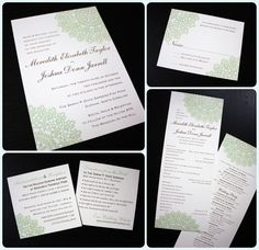 Chocolate Brown and Green Lace Wedding Invitations and Programs