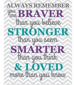 Braver Than You Believe Quote Nursery Decor, Girl's Room Decor, Chevron, Turquoise Grey Purple, Baby Girl, Canvas Nursery, Always Remember