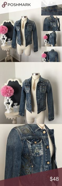 🌺 7 For All Man Kind  Lightweight Jean Jacket 🌺 7 For All Man Kind  Fabulous Lightweight Jean Jacket w/ Rhinestone Design - Front Pockets - Rhinestone Design Down Each Side & Across Back  $60 - New with Tags  Size : Small  Fabric : 100% Cotton  🌺 Accessories Not Included But Are also for Sale  Please Check out my Other Items in my GIRLe B Posh Shoppe'  Like us on FB   www.facebook.com/girleboutique Thanks For Looking & Always Let your Clothes get All the Attention 💋 ❌⭕️, Christina 7 For…