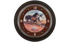 """Sam Savitt's Mustang Clock. Metal bezel clock features a reproduction of """"Mustangs"""" by Sam Savitt. 18"""" diameter."""