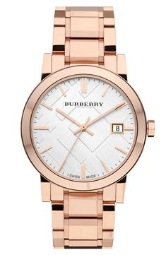 Such a beauty! Love this rose gold Burberry watch.