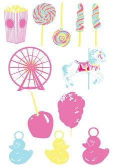 banderole-gateau printable pour sweet table, table de douceurs, sur le thème de la fête foraine, funfair, fairground, carnival