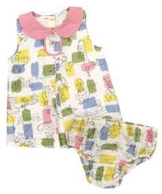 One-Piece Dresses: Baby Girls Doggy Print Tunic Dress & Bloomers Set (12 - 18 Months)