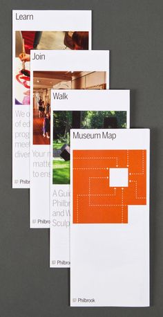 The logo is used to frame imagery on museum brochures.