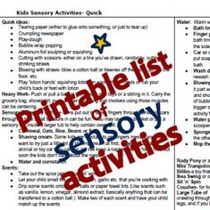 Printable Sensory Activity List