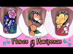 3 Decoraciones de uñas con mariposas y flores - YouTube Black French Manicure, Butterfly Nail Art, Toe Nails, Pedicure, Make It Yourself, Flower, Youtube, Hair, Art Nails