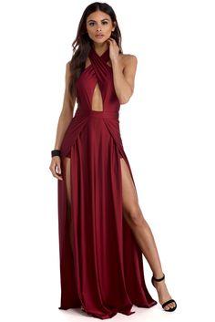 Genevieve Burgundy Double Slit Dress