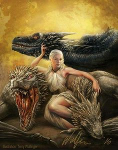 Daenerys, Viserion, Drogon and Rhaegal