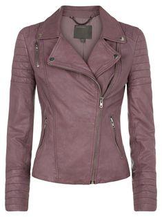 Mersault Mauve Leather Biker Jacket