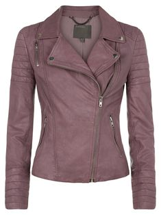 Mersault Mauve Leather Biker Jacket