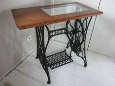 Vintage Singer Sewing Machine Table Base with custom made glass top
