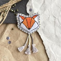 Embroidered Origami Fox Brooch