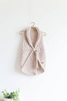 Natural off-white handmade crochet boho wool vest with mandala on the back