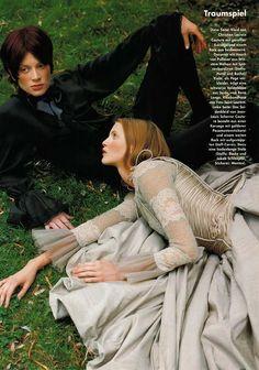 Nadja Auermann & Kristen McMenamy for Vogue Deutschland December 1993 – Traumspiel by Mario Testino