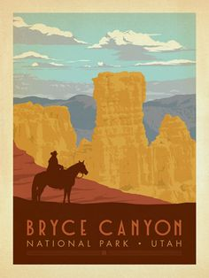 Bryce Canyon National Park - Anderson Design Group has created an award-winning series of classic travel posters that celebrates the history and charm of America's greatest cities and national parks. Founder Joel Anderson directs a team of talented Nashville-based artists to keep the collection growing. This print displays the rich earthtones of Bryce Canyon National Park's painted desert.