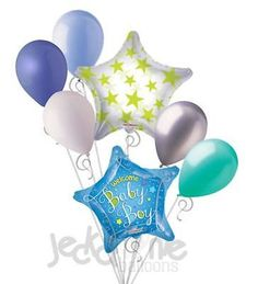 7 pc Its a Baby Boy Shower Star Balloon Bouquet Party Decoration Congratulations