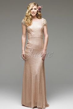 J3021 shown in Blush in all over sequin with shoulder and back appliques for prom.  Available in sizes 2 - 30 www.jadoreevening.ca for a full listing of boutiques that carry our collections in Canada contact us directly for USA boutiques!