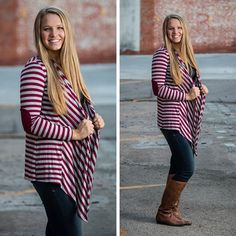 Add a little old-world charm to your outfit with this striped sweater featuring elbow patches. S.M.L $32