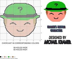Funko Dorbz Heads- The Riddler plastic canvas pattern by Michael Kramer