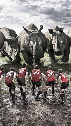 750x1334 Wallpaper rugby, team, rhinos, dirt, field