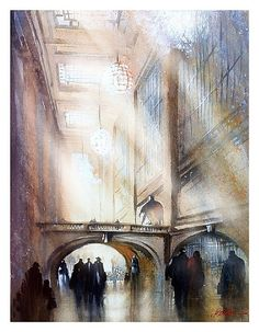 Grand Central Terminal, NYC by Thomas W Schaller Watercolor