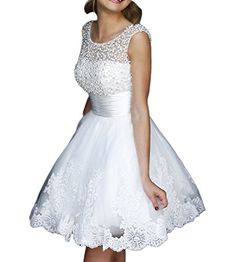 NYARER Short White Pearl Lace Wedding Dresses NY049WHUS22W *** Details can be found by clicking on the image-affiliate link.
