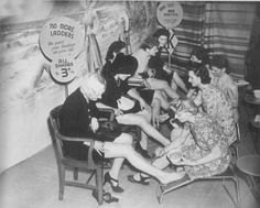 """PAINTED STOCKINGS 1940s """"No more ladders... we paint your stockings on your legs"""""""