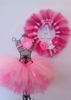 Tutu and Tutu Tulle Wreath Set  Birthday Tutu by ShopTutusForYou, $55.00