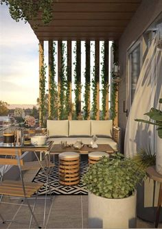 Outdoor Living Rooms, Outdoor Spaces, Outdoor Decor, Plantas Indoor, Living Green Wall, Vertical Planting, Modern Balcony, Hanging Herbs, Pallet Designs