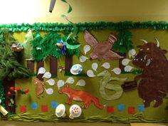 The Gruffalo Display Board Gruffalo Eyfs, Gruffalo Activities, Gruffalo Party, The Gruffalo, Classroom Wall Displays, Classroom Organisation, Classroom Walls, Child Development Activities, Room On The Broom