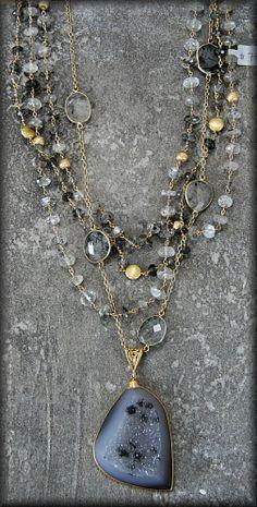 Safia 4 Strand Rutilated Quartz Necklace with Drusy