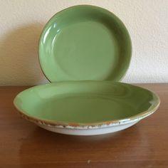 "Two (2) Vietri Cream/Sage Salad Plates 7 1/2"" Cucina Fresca Made in Italy EUC #VIETRICucinaFresca"