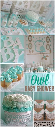 You have to see this gorgeous owl baby shower! See more party ideas at CatchMyParty.com! #BabyShowerIdeas
